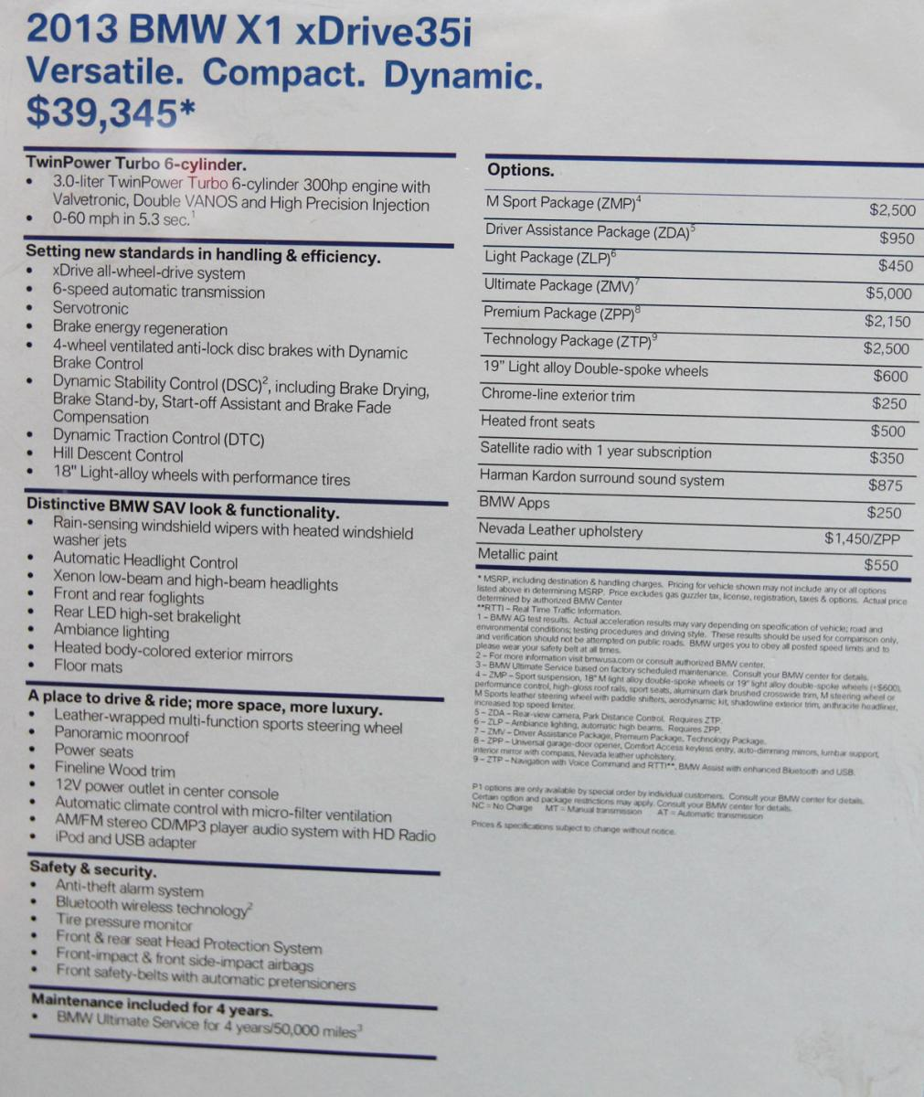 Full 2013 X1 Options List And Pricing (US